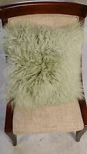 "Handmade 100% Mongolian Fur 16""x16"" Square Light Taupe Pillow Cushion Cover"