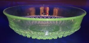 Vintage Depression Clear Manganese Glass Float Bowl - Glows Green Under 365nm UV