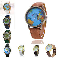 Women Men Large Retro World Map Atlas Pu Leather Alloy Analog Quartz Wrist Watch