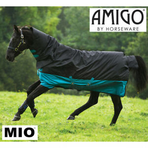 Horseware Amigo Mio All-In-One Turnout Rug, 200g, Black/Turquoise, 6'9