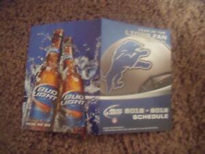 "2012 Detroit Lions (NFL) Bud Light ""Year of the Fan"" football pocket schedule"