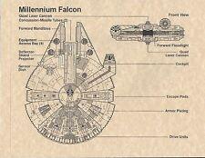 Star Wars Millenium Falcon Blue Prints > Han Solo > Print Replica/Poster/Flyer