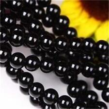 4mm Black Agate Onyx Gemstone Round Loose Bead 15inch