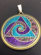 "Tri Spiral Surf Medallion 1.5/8"" Pendant Necklace Lapis Gemstone Sterling Silver"