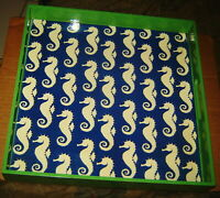 "SEAHORSE ART MULTIPLES ROCKFLOWERPAPER TRAY HANDLES 14"" SQUARE SERVING LACQUER"