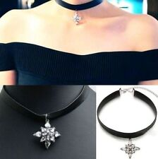 Gothic Leather Crystal Choker Charm Pendant Necklace Women Vintage Black Jewelry