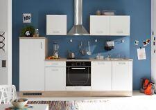 Küche AND Küchenblock Küchenzeile Komplettküche 270cm Singleküche Miniküche weiß