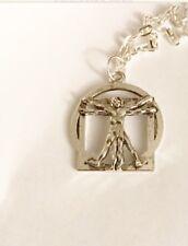 Leonardo Da Vinci The Vitruvian Man Silver Necklace