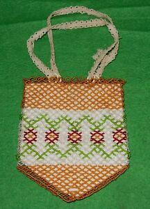 Damen Tasche Perlentasche orange Perlen Handarbeit Erzgebirge original alt 1900