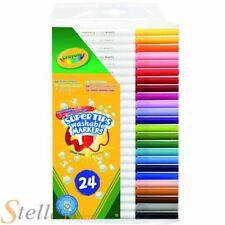 24 Crayola Bright Colour Supertips Pens Colouring Childrens Art Drawing