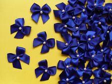 """1"""" (W) Royal Blue Satin Ribbon Bows w/Beads DIY-50 pcs-R0034D"""