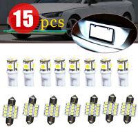15pcs Xenon White LED Light 6000K Lamp Bulb Auto Car Interior Package Deal Kit