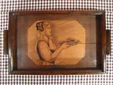 Ancien Plateau Service en bois pyrogravé pyrogravure Femme Cuisinière signé LADO