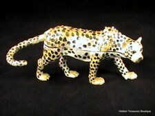 Cheetah Austrian Crystal Bejeweled Enameled Hinged Trinket Box NIB