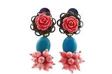 Modeschmuck Ohrringe  Ohrclip Earring Türkis,Koralle Blume, Perle,von Catia Levy