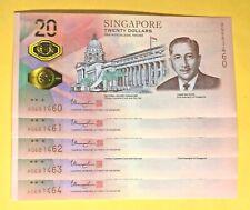 Singapore Bicentennial Commemorative $20 Dollar Notes 5 Piece Running Set (UNC)