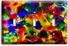 COLORFUL MURANO GLASS TRIPLE LIGHT SWITCH WALL PLATE COVER LIVING DINING ROOM