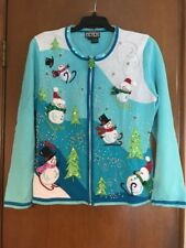 Berek Ugly Cute Christmas Sweater Contest Turquoise Sequin Pearl Snowman Large L
