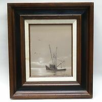 RARE SIGNED CHICK ALLEN PAINTING of FISHING SCHOONER