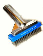 "5"" Swimming Pool Spa Algae Brush w/Stainless Steel Bristles, Aluminum Handle"