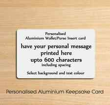 Personalised Metal Aluminium Wallet Insert Card - Ideal Keepsake Gift or Present