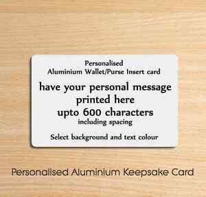 Personalised Metal Aluminium Wallet Insert Card - Ideal Keepsake Gift or Present