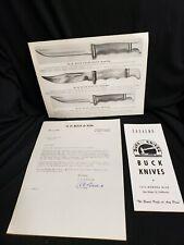 H. H. BUCK KNIVES 1956 catalog + insert + SIGNED letter!  Lifetime carbon steel
