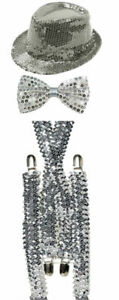 Sparkling Silve Sequin Hat Braces Dicky Dickie Bow Tie Fancy Party Accessory Set