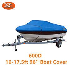Premium 600D 16-17.5ft 96'' Marine Grade Trailerable Fishing Boat Cover Blue
