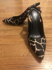 Black Slingback Heels Animal Print Black Ivory Pony Nine West Sz 7 Shoes Giraffe