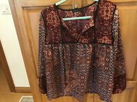 L Sanctuary Long Sleeve Patchwork Belle Boho Top Peasant Blouse