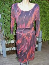 SuzanneGrae Graphic Print DRESS Size L-16 NEW $69.95 Red/Brown/Grey 3/4 Slve