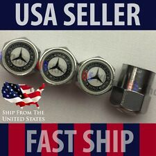 Mercedes Benz MB Logo Valve Stems Caps Covers Silver Chromed Roundel Emblem Tire