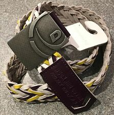 """Duck & Cover Mens M L XL Leather Walsh Belt BNW0T White Yelllow Purple 36"""" - 40"""""""