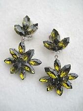 Chunky Quality Unused Vintage Olive Green Glass Drop Clip Earrings