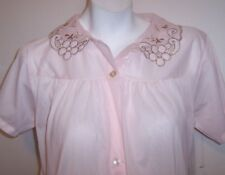 Vintage Philmaid Nightgown S Baby Pink Sissy Nylon Button Up Robe Lingerie Gown