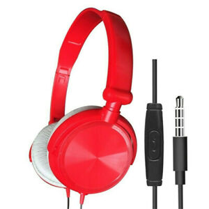 3.5mm Wired Headphones Over Ear Headsets Bass Stereo Earphone With Microphone