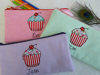 Handmade Personalised Girls Cupcake Pencil Case Name & Colour Choice, ideal gift