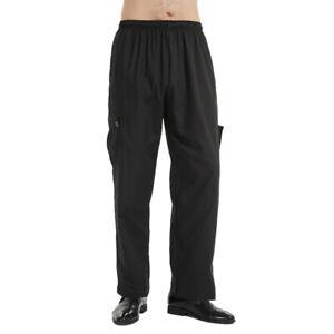 TOPTIE Men's Baggy Chef Pant With Elastic Waist, Lightweight, Black, Stripe