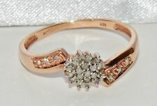 9ct Rose Gold 0.14ct Diamond Ladies Cluster Ring - size P