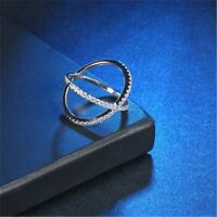 X Ring Pave Setting X-shaped Size 6-19 Cross Ring CZ