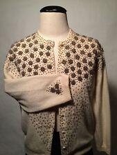 1950's-60's True Vintage-Ivory cashmere sweater-Bronze beading-Gorgeous!