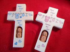 Set 2 teilig Kinderkreuz m.Keramikengel Taufkreuz Taufe Geburt Taufgeschenk