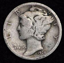 1928-D MERCURY DIME / CIRCULATED GRADE GOOD / VERY GOOD 90% SILVER COIN