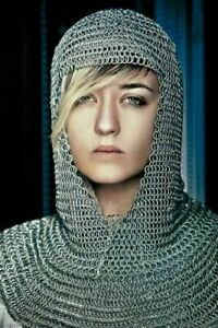 Aluminium Chain Mail Hood V-Neck ( chainmail coif ) re-enactment / larp / sca F1