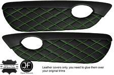 GREEN DIAMOND STITCH 2X DOOR CARD TRIM LEATHER COVERS FITS MG TF MGTF MK2 00-06