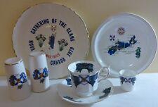 COLLECTIBLE NOVA SCOTIA TARTAN LOT - 2 PLATES, CUP & SAUCER, S & P & SHOT GLASS