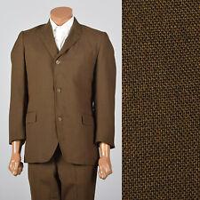 Medium 1960s Brown Suit 39S 3 Roll 2 Jacket Vintage Tapered Pants Flap Pockets