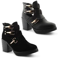 Ladies Womens Chunky Cut Out Chelsea Ankle Boots Low Mid High Heel Shoes UK 3-8