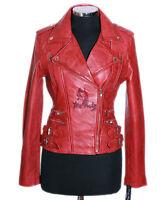 Ladies JESSIE RED WAXED Biker Style Short Real Lambskin Leather Designer Jacket